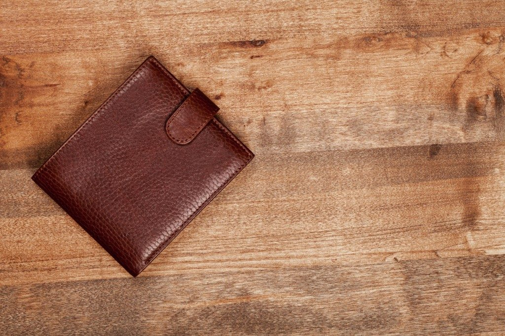 Wallet on a wooden surface
