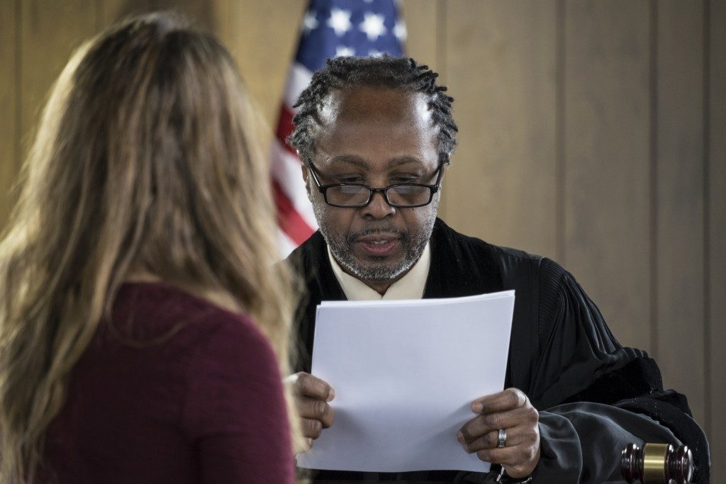 woman talking to the jury