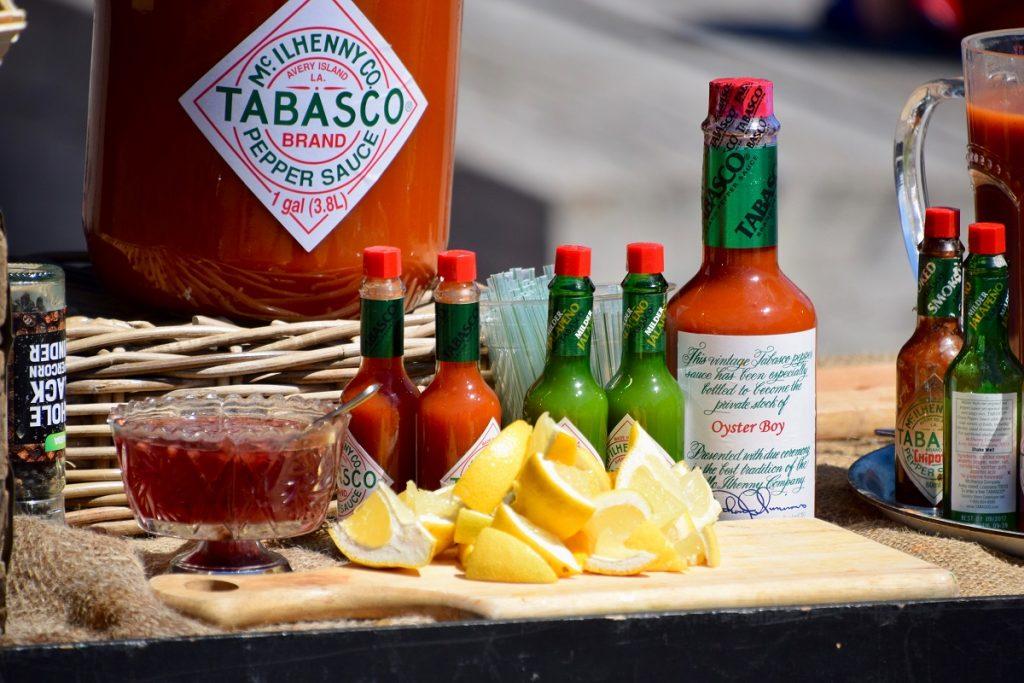 assorted hot sauce bottles