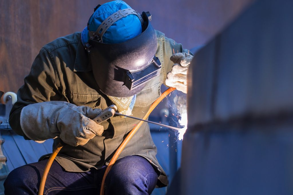 welder on the site
