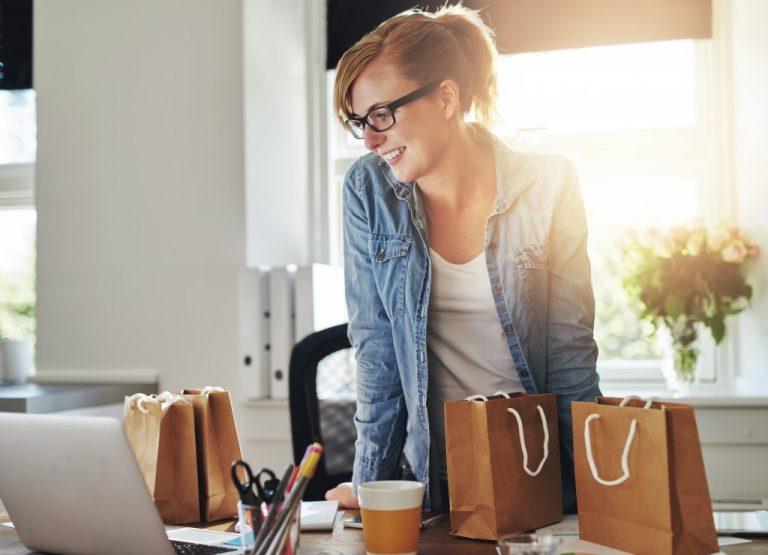 entrepreneur on her work station