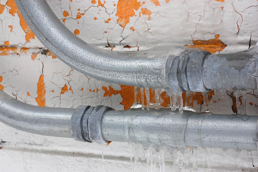 metal pipe under sink